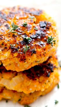 Sweet Potato Quinoa Patties Very good! Doesn't firm up like a burger or latkes. Top with poached or fried egg. Veggie Recipes, Baby Food Recipes, Whole Food Recipes, Vegetarian Recipes, Cooking Recipes, Healthy Recipes, Vegan Sweet Potato Recipes, Vegan Quinoa Recipes, Cooking Pork