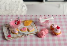 RESERVEDMiniature Valentine Cupcake and Cookie by CuteinMiniature