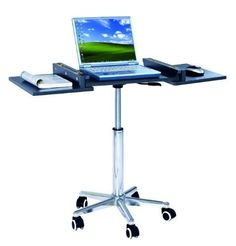 Adjule Ergonomic Laptop Computer Cart Desk The Rolling Is Available In Black Or Wood Color With This