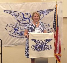 Ginni Thomas, wife of Supreme Court Justice Clarence Thomas speaking at Eagle Council.