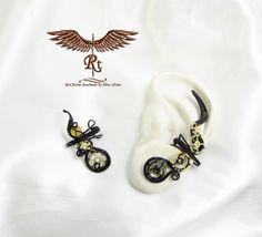Black steampunk ear cuffs no piercing by RockTime on Etsy