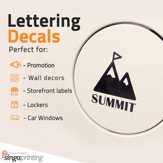 Custom Vinyl Lettering and Numbers Custom Vinyl Lettering, Custom Decals, Custom Stickers, Sticker Printing, Letter Decals, Letters And Numbers, Wall Stickers, Singapore, Lockers