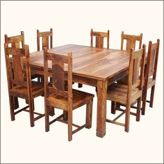 Old world traditions meet modern times in the Large Rustic Square Santa Cruz Dining Table and Chair Set. This rustic dining table is perfect for a large fami. High Back Dining Chairs, Dining Room Table Chairs, Table And Chair Sets, Dining Room Design, A Table, Wood Tables, Large Square Dining Table, Rustic Dining Set, Dining Table Dimensions