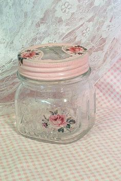 SALVAGED Vintage Ball Squat Pint Jar Cottage Pink by sparkklejar