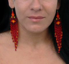 Extra Long Earrings. Native American Earrings Inspired. Yellow Black Orange Red Earrings. Shoulder Dusters. Beadwork.