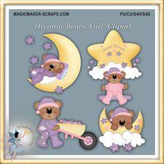 baby clipart girl teddy bear digital scrapbook by MagicmakerScraps,
