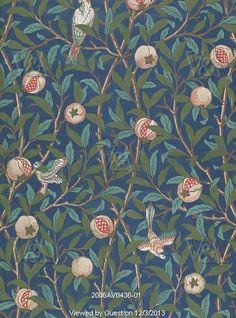 william morris bird and pomegranate wallpaper design printed by john henry dearle, William Morris Wall Tapestry, Wallpaper, Design Art William Morris Wallpaper, William Morris Art, Morris Wallpapers, Bird Wallpaper, Fabric Wallpaper, Pattern Wallpaper, Bedroom Wallpaper, Print Wallpaper, Cottage Wallpaper
