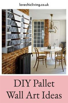 Amazing pallet wall ideas for creating your very own unique pallet wall art in the home! Pallet wall decor for every room and find out how to create a DIY Pallet wall backdrop for your room. Design your own fun pallet wall art that nobody else will have! #lovechicliving Pallet Wall Decor, Pallet Walls, Modern Wall Decor, Outside Wall Decor, Home Decor Inspiration, Decor Ideas, Wall Backdrops, Uk Homes, Wall Ideas
