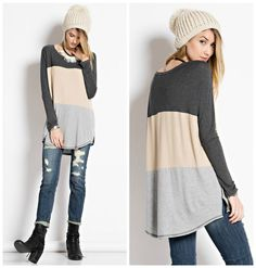 Long Sleeve Color Block Knit Tunic