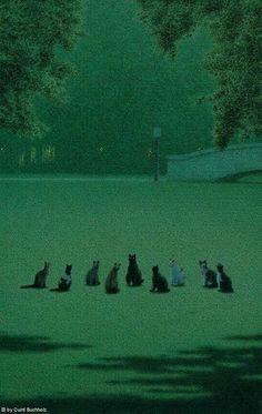 "felixinclusis: ""matou-en-peluche: Quint Buchholz The Cat's Assembly, Dark Green Aesthetic, Aesthetic Art, Aesthetic Pictures, Arte 8 Bits, Arte Peculiar, Arte Obscura, Matou, Slytherin Aesthetic, Nocturne"