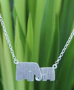 Handmade Silver Elephant Pendant Necklace, 'Family Love'