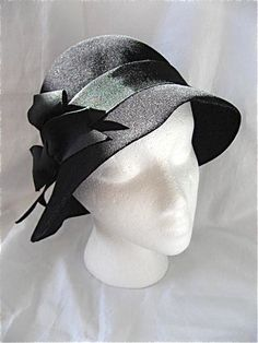 042e5678976b01 Vintage Black Frank Olive Hat by DelicateCreations on Etsy Green Ribbon,  Black Ribbon, Bow