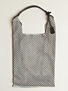 jil sander laser cut perforated market bag