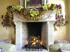 Lush Garland - 20 Glowing Holiday Mantels on HGTV