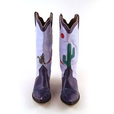 Custom Cowboy Boots Vintage 1980s Purple. On etsy. Are you a size 7? Please send me a picture once you snatch these up! I'm contemplating amputating toes....