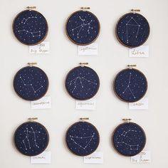 cross-stitch constellations - teach kids the star systems!