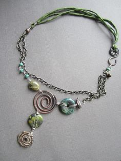 https://flic.kr/p/dxgw4s | Swirls and turquoise | fun asymetrical necklace
