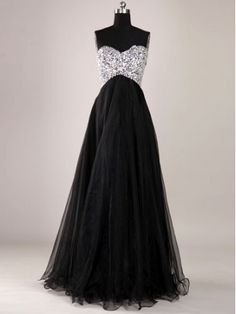 Gorgeous Black A-Line Floor-Length Prom Dress/Graduation Dress #prom #dress #evening #promdress
