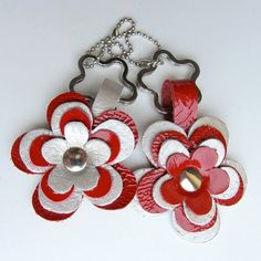Keychain / keyring / bag charm  FLOWER in red patent leather and silver leather handmade by RinartsAtelier