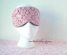 Couture Lace Mask ~ Pink with Bow ~ for Travel, Sleep, etc. ~ Bridal Party, Gift ~ Light Blocking