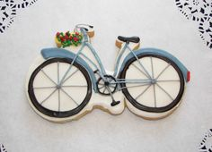 Bicycle with flower basket cookies by ruthiescookies on Etsy
