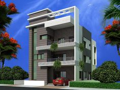 front elevation designs for duplex houses in india Shipping Container Home Designs, Container House Design, Building Elevation, House Elevation, House Front Design, Modern House Design, Front Elevation Designs, Independent House, Duplex House
