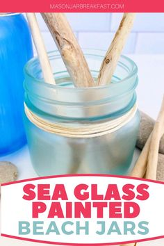 Do you like beach house décor? These Sea Glass Painted Beach Jars are a simple, inexpensive way to add beach inspired decoration into your home. This Mason jar craft requires only a handful of materials, most of which you likely have at home right now. Have fun accessorizing these beach Mason jars with driftwood, stones, shells, sea glass, sand dollars, coral, plants, and sand collected from your favorite beach. #beachhousedecor #masonjarcrafts #masonjarcenterpieces #masonjarprojects Mason Jar Meals, Mason Jar Gifts, Mason Jar Diy, Beach Jar, Beach Mason Jars, Mason Jar Breakfast, Mason Jar Projects, Sand Dollars, Crafty Craft