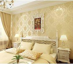 Self Adhesive 10M Classic Glitter Metallic Damask Flocking Non-woven Wallpaper Roll Bedroom TV Color Beige - - Amazon.com