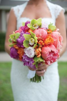 pink, green, purple, and orange bouquet | Cameron & Kelly Studio #wedding