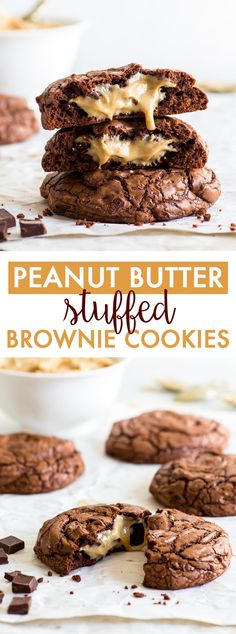 Peanut Butter Stuffed Brownie Cookies (Gluten Free) – These peanut butter stuffed brownie cookies will blow your mind. With a crackly crust, a fudgy chocolatey interior and the most drool-worthy gooey peanut butter centre, these Devamı… Peanut Butter Dessert Recipes, Gluten Free Peanut Butter, Chocolate Peanut Butter Cookies, Peanut Butter Cookie Recipe, Easy Cookie Recipes, Healthy Dessert Recipes, Brownie Recipes, Easy Desserts, Brownies With Peanut Butter