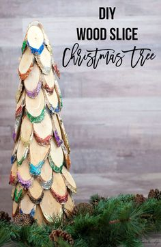 This is so easy and fun!! DIY colorful wood slice Christmas tree. Perfect Christmas craft idea