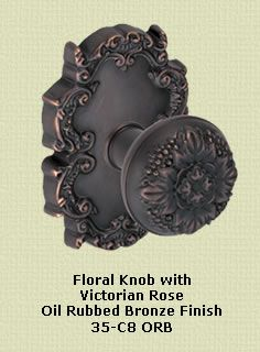 Colonial Hardware - Floral Knob with Victorian Rose - in an oil rubbed bronze finish via Rustica Hardware