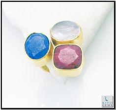 Multi Black Onyx Gems Stones 18kt Y.G. Plated Engagement Ring Sz 7 Gprmul7-5260 http://www.riyogems.com