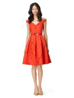 Oscar de la Renta, V-Neck Off-the-Shoulder Dress with Full Skirt and Self Belt, $2,490, Oscardelarenta.com