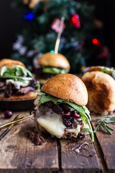 Gingery Steak and Brie Sliders with Balsamic Cranberry Sauce. (via http://www.halfbakedharvest.com/)