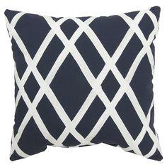 """Threshold 18"""" Navy Lattice Toss Pillow"""