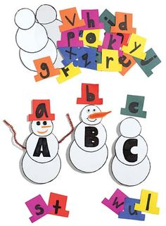 Snowman letter game...cut out snowmen and different hats, have the kids mat the upper and lower case letters. Could do for numbers, colors, etc.