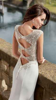 eddy k couture 2017 bridal sleeveless thick strap metallic beaded heavily…