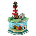 Lighthouse Trinket Box Bead Pattern By ThreadABead Box Patterns, Beading Patterns, 3d Star, Beaded Boxes, Beaded Christmas Ornaments, Beaded Crafts, Craft Projects, Craft Ideas, Bead Weaving