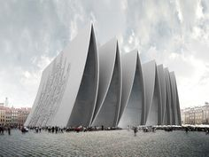 Axis Mundi: Cathedral Fold... New York-based architecture office Axis Mundi has designed 'Cathedral Fold', a 2,322 m2 place of worship   in Strasbourg, France. Composed of a series of pleated concrete arches, the proposal features both subtle and dramatic design characteristics that together create a new and contemporary place of worship.