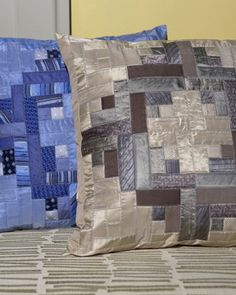 quilted pillow from old silk ties