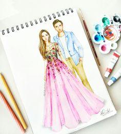Aww so cute Dress Design Sketches, Fashion Design Sketchbook, Fashion Design Drawings, Fashion Sketches, Dress Illustration, Fashion Illustration Dresses, Wedding Illustration, Fashion Drawing Dresses, Fashion Dresses