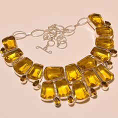 FACETED CITRINE TOPAZ EXCELLENT .925 SILVER NECKLACE #Handmade #Choker
