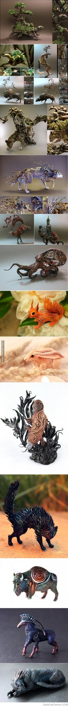 Handmade animal art pieces. the squirrel and rabbit are my favorite.