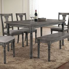 Acme Furniture Wallace Weathered Gray Dining Table   from hayneedle com Jofran 856 Series Round Dining Table in Burnt Grey   856 48T 48B  . Gray Dining Sets. Home Design Ideas