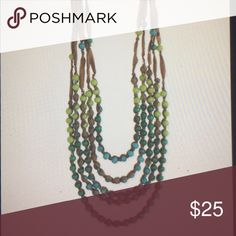 Blue & green bead ribbon necklace Very cute and colorful ribbon necklace Jewelry Necklaces