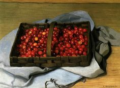 Felix Valloton. Basket of Cherries, 1921, oil on canvas, 54 x 73.5 cm, private collection.
