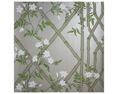Jasmine Lattice Silver Wallpaper from Zoffany Woodville Wallpapers Collection. A decorative wallpaper featuring a floral jasmine trail intertwined on a bamboo trellis on a semi-reflective silver background. Sparkle Wallpaper, Cute Desktop Wallpaper, Silver Wallpaper, Luxury Wallpaper, Wallpaper Decor, Green Wallpaper, Blue Wallpapers, Designer Wallpaper, Wallpaper Designs