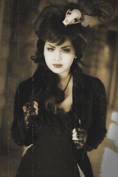 #Goth girl in treated photograph