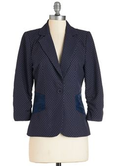 Spotted on the Street Blazer. Youre delighted to have run into your friend on your way to work! #blue #modcloth